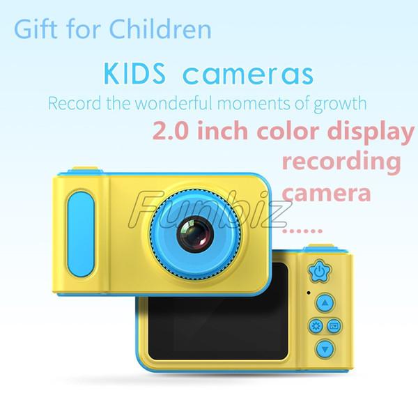 2019 Newest Children Camera Mini Digital Kids Camera Cute Cartoon Camera 1080P Toddler Toy Children Birthday Gift 2 Inch Screen Cam DHL