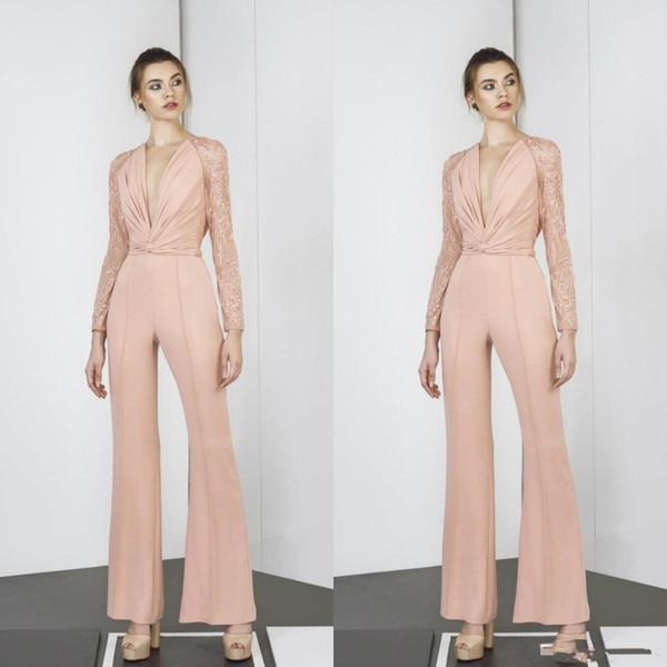 Tony Ward 2019 Monos Vestidos de baile Mangas largas Cuello en V profundo Pliegues de encaje Vestidos de noche Vestido de fiesta formal rosado por encargo