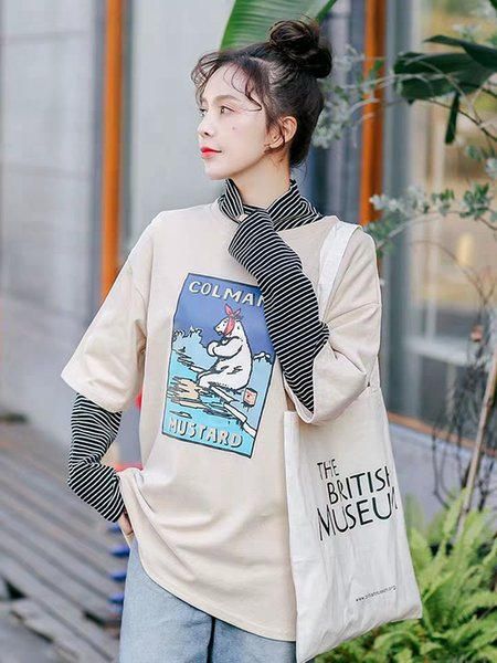 Pure cotton fleeced short-sleeved T-shirt for women spring 2019 ins new Korean version five-point sleeve slim blouse loose fashion Hong Kong