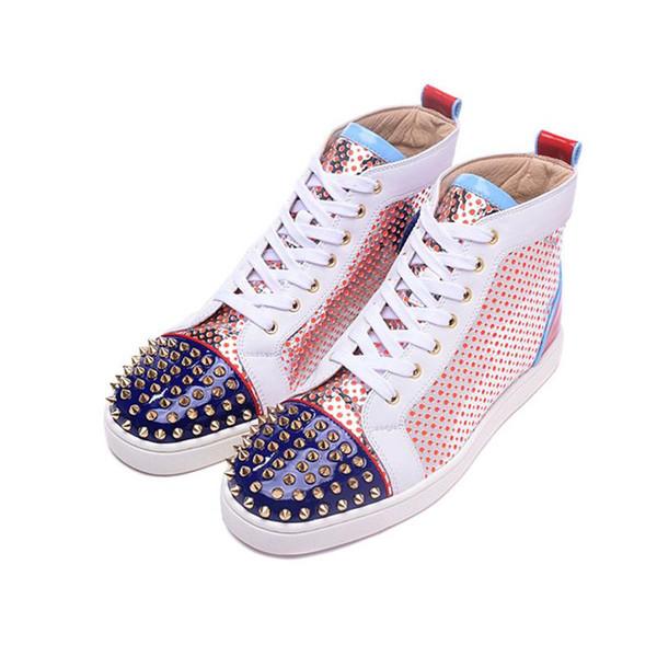 2019 Nouveau Designer Bas Rouge Chaussures Décontractées Slip-on Roller Boat Hommes Femmes Suede Spike Cristal En Cuir Sport Baskets BOX DUST BAG 36-47