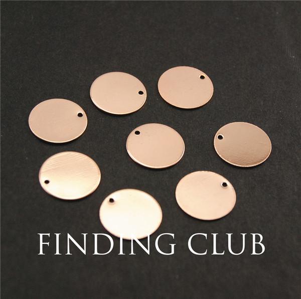 20 piezas de oro rosa de 14 mm Etiquetas de estampado en blanco Encantos para pulseras de galvanoplastia material natural sin níquel RS754