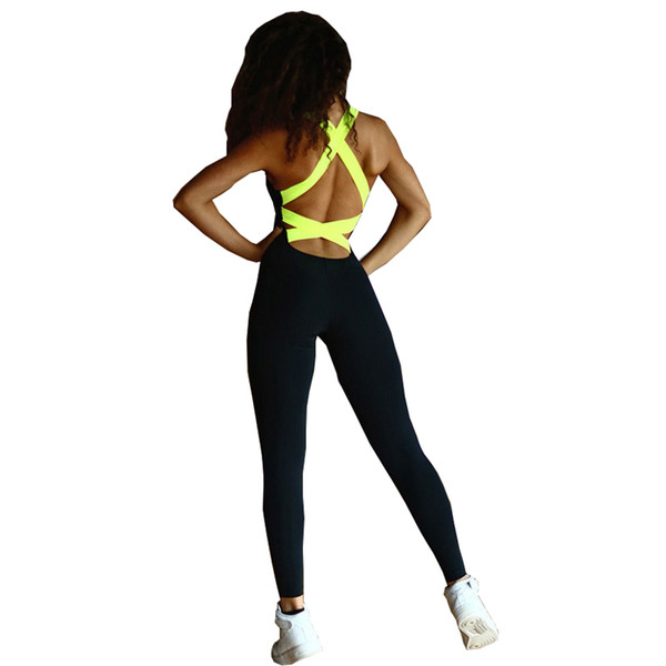 Sexy Backless Bandage Yoga Jumpsuit Fitness Suit Custome Yoga Set Running Sport Workout Tracksuit For Women Fitness Clothing Y190508