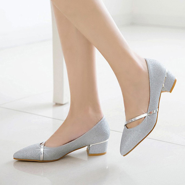 46d956e2b57 Dress Shoes Spring Women Pointed Toe Medium Heels Wedding Woman Dress  Sequined Cloth Pumps Silver Gold
