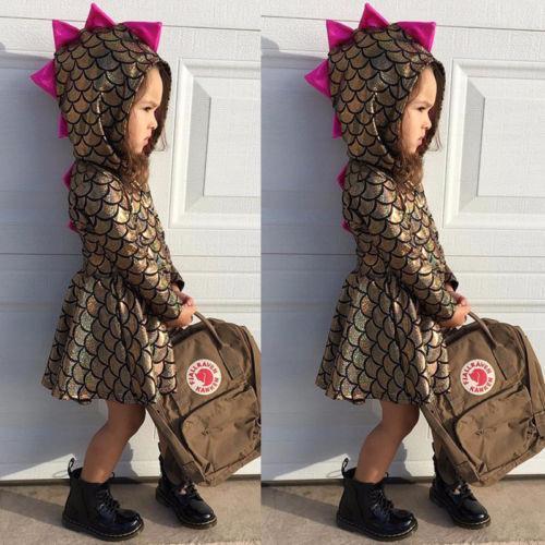 Scaglie di pesce manica lunga oro vestito carino bambino neonato ragazze bambino con paillettes sirena principessa fantasia abito con cappuccio costume