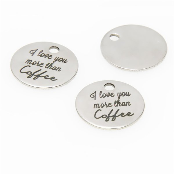 10pcs//lot Love charm Love you more Stainless steel message Charm pendant 20mm