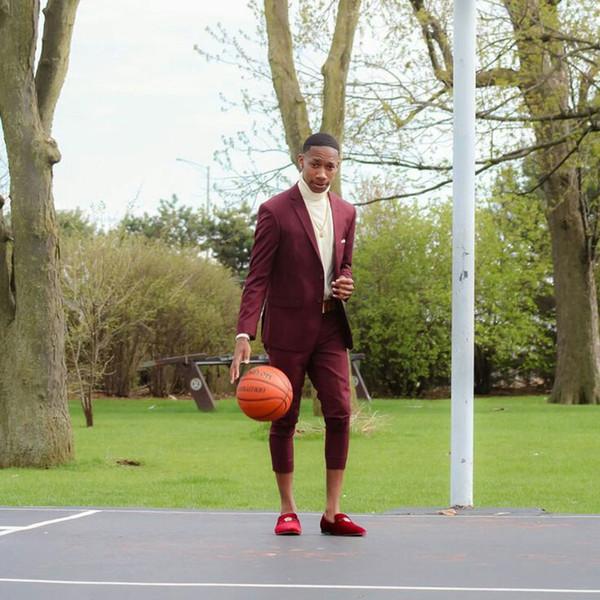 Последний дизайн бордовый деловые костюмы брюки мужчины костюм жених смокинг Терно мужчина для Homecoming партии 2шт наряд жениха костюм мужской
