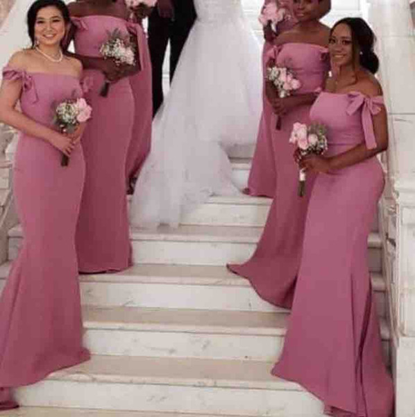 Elegant Off The Shoulder Shoulder Satin Long Bridesmaid Dresses 2019 Bow Ruched Floor Length Plus Size Wedding Guest Maid Of Honor Gowns