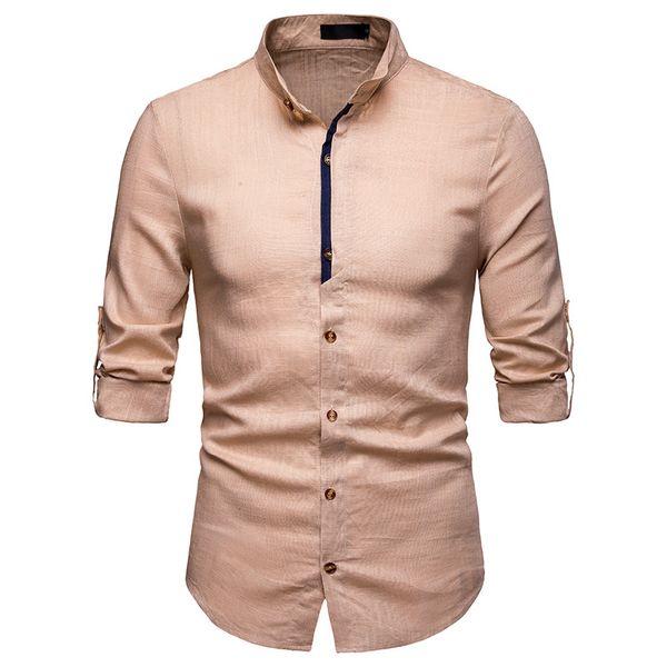 Mens Dress Shirts 2019 New Formal Shirt Men Linen Loose High Quality Business Fashion Casual Society Long Sleeve Shirts