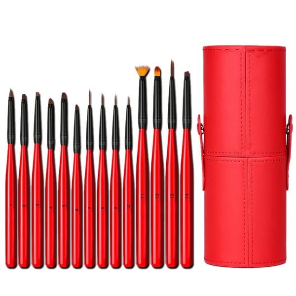 ABVP 14pcs / Set ongles peinture pinceau de maquillage synthétique Pinceau Vernis à ongles Peinture Pen Art avec boîte de rangement