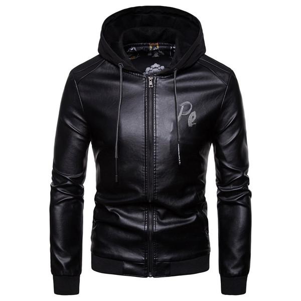 Men Autumn Winter Warm Hooded Casual Leather Zipper Long Sleeve Jacket Coat Tops #4O23 #F