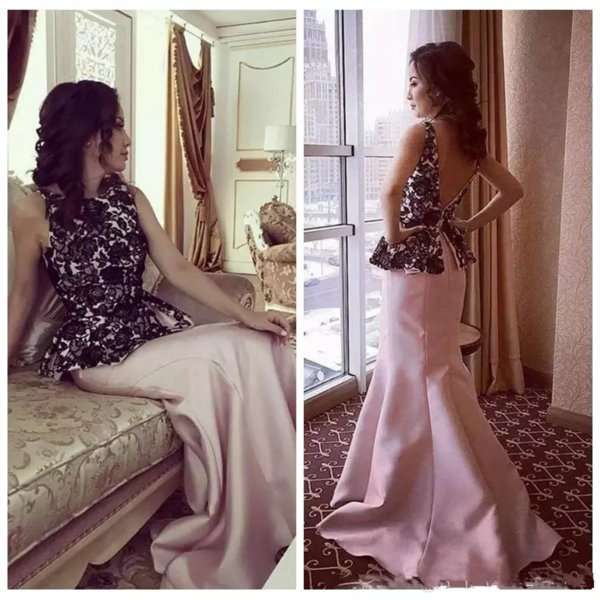 2019 Scoop Sleeveless Mermaid Prom Dresses Lace Top Pelpum Formal Long Women Evening Party Gowns Customized Robe De Soiree V-Shape Backless
