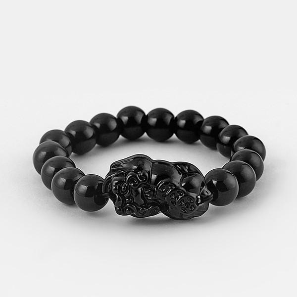 1pcs Lucky Feng Shui Brave Troops Charms Black/Garnet Pomegranate Glass Pixiu Beads Elasticity Bracelet