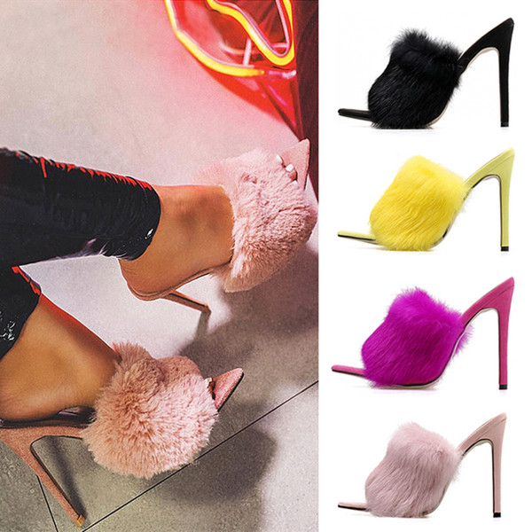 2019 Summer Fashion Women 11cm High Heels Yellow Pink Mules Heels Slides Female Felt Fur Strange Slippers Stiletto Shoes