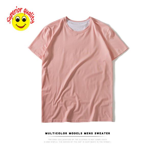 6bfd855b0 2019 Hombres camiseta de manga corta de algodón hombres en blanco color  sólido modelos de marea