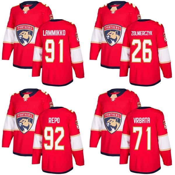 Barato 2018 Nueva marca de anuncios de marca Florida Panthers 71 Radim Vrbata 91 Juho Lammikko 26 Harry Zolnierczyk Sebastian Repo Rojo camisetas de hockey personalizadas