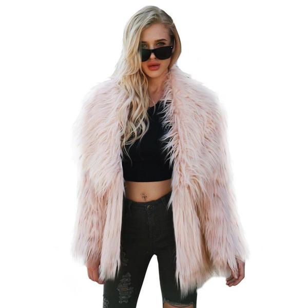 Plus Size 3XL Furry cappotto di pelliccia donne Fluffy caldo manica lunga femminile della tuta sportiva di inverno di autunno del cappotto del rivestimento collare peloso cappotto Nuovo