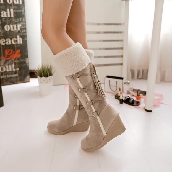 Free shipping autumn and winter large size 40414243 snow boots wedge with snow boots high boots