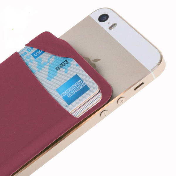 designer card holder Cellphone Pocket Solid Mobile Phone Wallet Credit Id Card Holder Pocket Adhesive Sticker Lycra Accessory