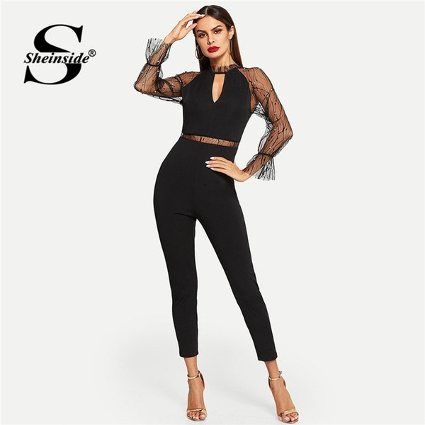 wholesale Pearls Beaded Mesh Contrast Solid Elegant Jumpsuit Sexy Black Jumpsuits For Women 2019 Mid Waist Long Sleeve Jumpsuit