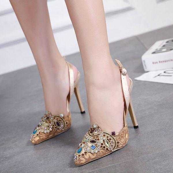 Wedding Party night club heel-strap Sandals womens open toes super High Heels Platform pumps stilettos heel high quality Silk Rhinestone