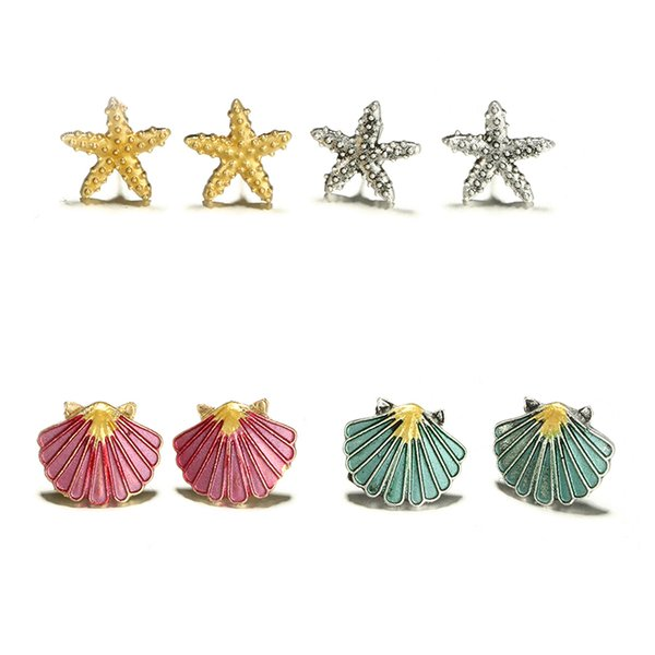 4pair/set Cute Starfish Shell Stud Earring Set Women Colorful Conch Shells Star Stud Earrings Party Beach Jewelry