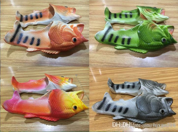 Fish-shaped slippers summer creative funny paternity beach shoes dragged inside and outside dragons dragged inside and outside