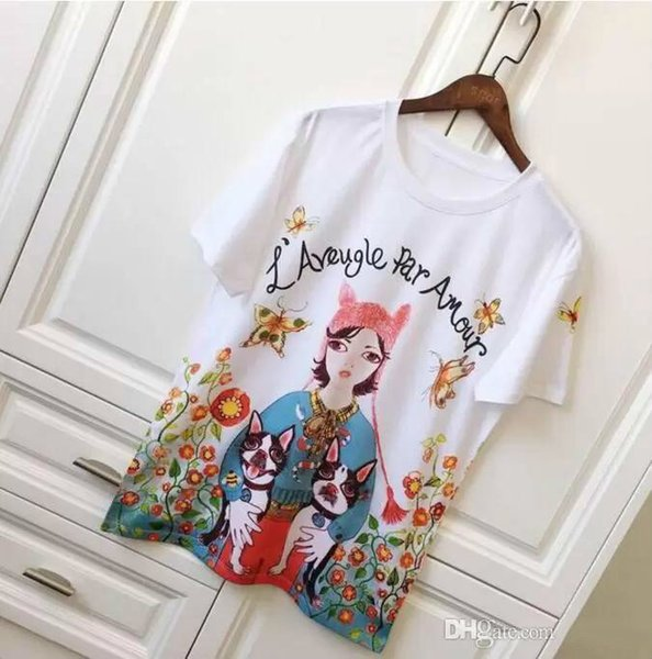 2018 Sleeve T Shirt Fashion Brand Europe And The United States Tide Brand Girls Painted Floral Prints Mens Tops Streetwear Shirt