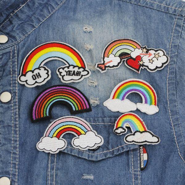 Hot fashion cartoon Arcobaleno tessuto ricamato cuore lettera 'Oh yeah' spilla Jeans denim cappotto distintivo spilla accessori