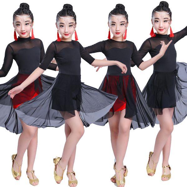Girl Latin Dance Dress Cha Cha Dress Ballroom Dancing Girl Competition Dancewear Kids Dance Costumes vestidos mujer 2019