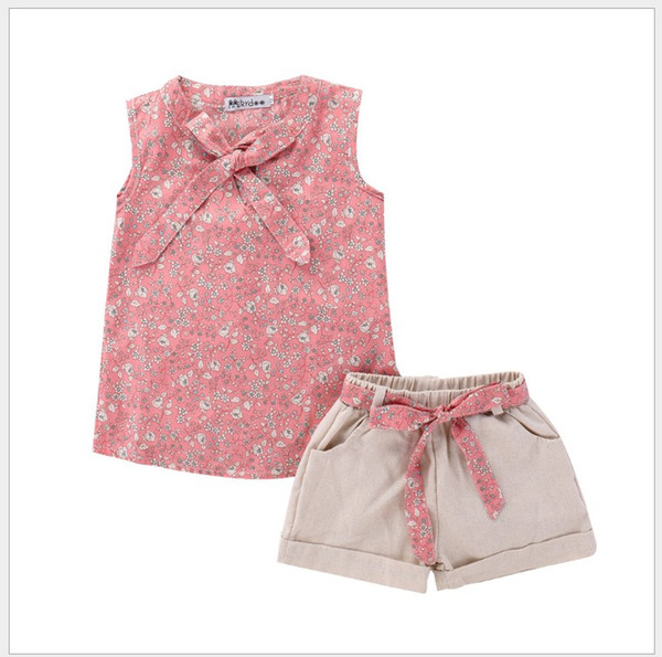 2019 New Summer Girls Clothing Sets Baby Girl Floral Printed Sleeveless Vest+Shorts 2pcs Set Kids Outfits Children Suits 5sets/lot