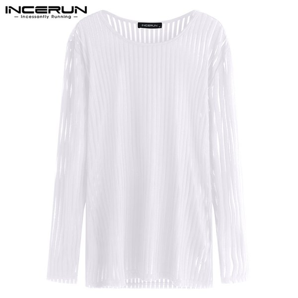 Chic Crossfit Muscle Tee Joggers Tops Fashion See Through Mesh Men T Shirts Long Sleeve Male Tops White Black Camisa Masculina