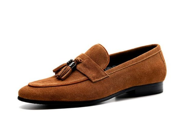 Brown Cow Suede Tassels Loafers Mens Topsider Flats Dark Blue Formal Tuxedo Shoes Slip On Dress Party Wedding Shoes 1a1