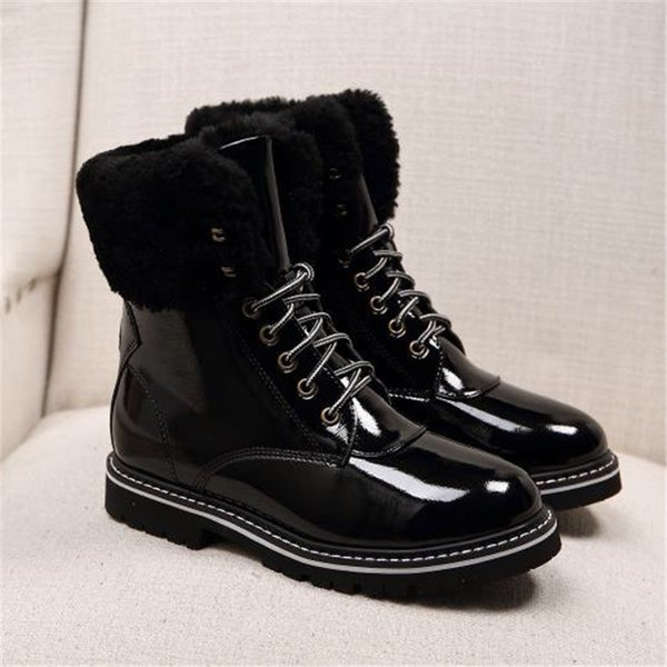Women Boots Designer Casual Shoes Office Lady Black Leather Boots Lace Up Brand High Quality Shoes Party Club Winter Shoes Female 911291CE