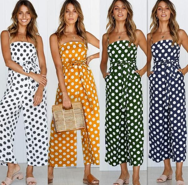 best selling Women jumpsuits hot selling Sexy Bodysuit Real Dot Polyester Loose jumpsuit rompers 7 colors factory supply