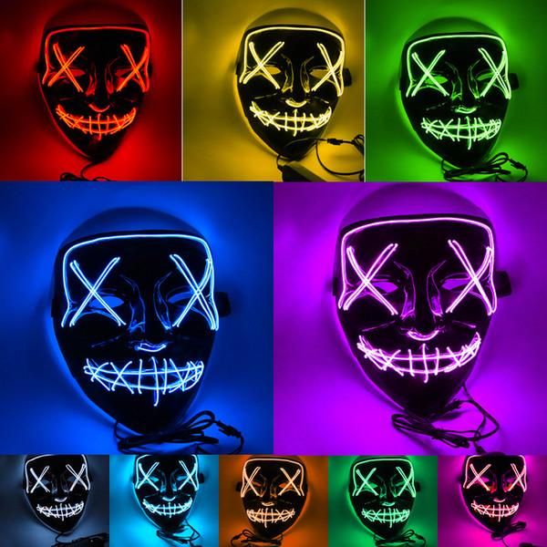 Divertente maschera incandescente a LED Halloween Party Ghost Dance Maschera a LED Halloween Cosplay Glowing Maschere da festa