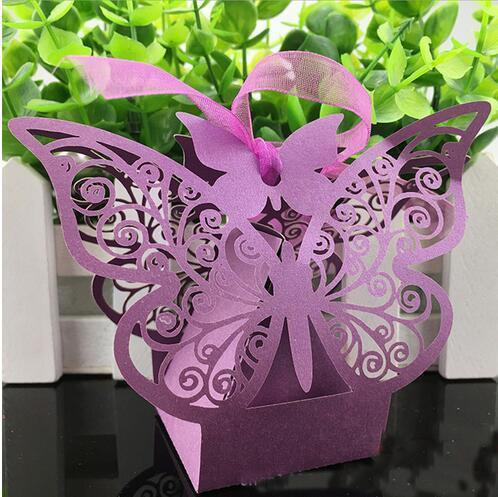 Butterfly Laser Cut Hollow Carriage Favors Box Gifts Candy Boxes With Ribbon Baby Shower Wedding Event Party Supplies