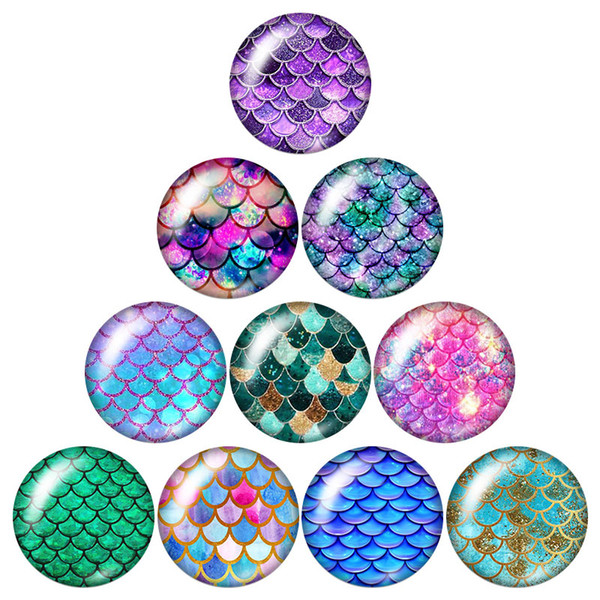 New Beauty Glitter Fish scales 10pcs 12mm/18mm/20mm/25mm Round photo glass cabochon demo flat back Making findings ZB0902