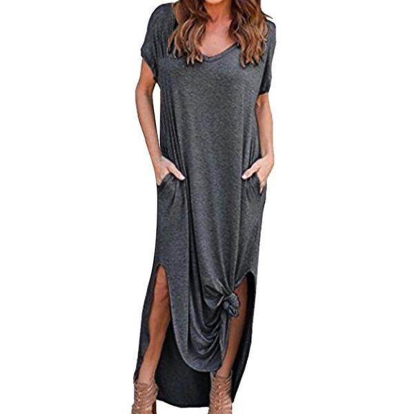 Fashion Womens Loose Summer Beach dress Casual ladies Girls Gallus Short Sleeves Floor-Length Long Dresses vestidos de festa