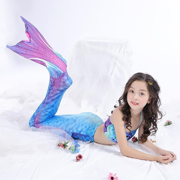 2018 Kids Children Mermaid Tails For Swimming Mermaid Tail With Girls Costumes Swimmable Swimsuit With Bikini Flipper