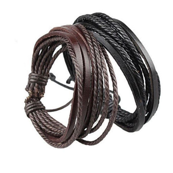 Mens Bracelets Wrap Multilayer Genuine Leather Black and Brown Braided Rope Bracelet for Men and Women Charms Fashion Man Jewelry