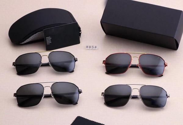 Porsche. 8854 Diseñador de calidad Piloto Moda gafas de sol para hombres mujeres marca Vassl Gafas de sol Marco de oro mate espejo azul 8854 con caja marrón