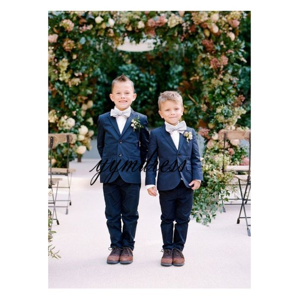 Blue Boys Tuxedos 2019 Notched Lapel Two Button Boys Dinner Suits Kids Formal Suits for Wedding Two Pieces (Jacket+Pants+Bow)