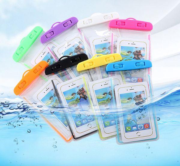 Universal Luminous Waterproof PVC Bag Transparent Waterproof Phone Bag for Swimming Drifting Diving Color Blue Black White Yellow