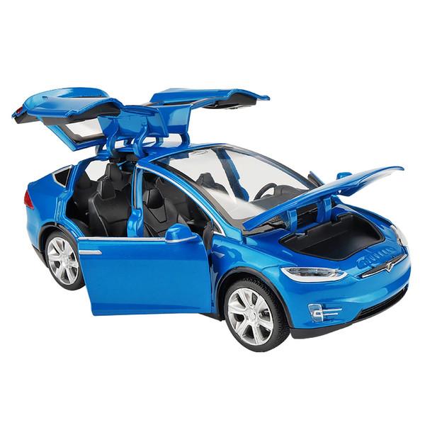 Kidami 1:32 Tesla Alaşım Araba Geri Çekin Diecast Model Araba Oyuncak Ses Işık Hediye Oyuncaklar Ile Çocuklar Için Otomobil Escala Siku J190525