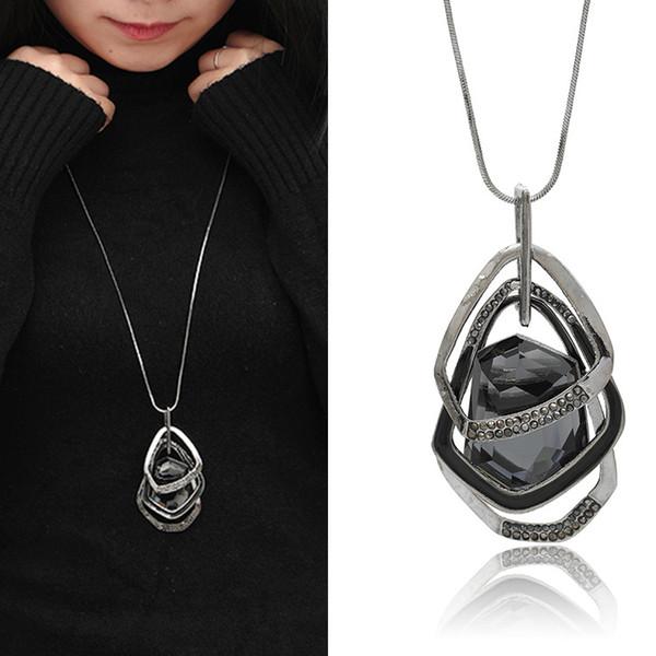 Statement Bib Necklaces For Women Long Chain Necklace Pendant Fashion Big Black Rhinestone Crystal Pendants Choker Necklaces