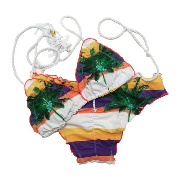 Erwachsene Geschenk Bikini Set Beach Triangle Strap Sexy Split Badeanzug Baden Polyester Gepolsterter Bh Streifen Gedruckt Sommer Frauen