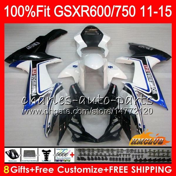 Inyección para SUZUKI GSXR 600 750 GSXR750 azul blanco 11 12 13 14 15 16 10HC.33 GSXR-600 K11 GSXR600 2011 2012 2013 2014 2015 2016 Carenado