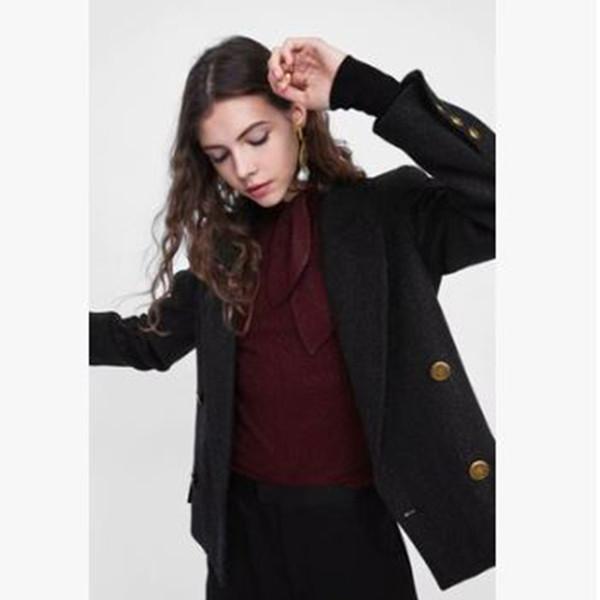 Tweed de doble botonadura Casual Blazer Mujer Schwarz Estilo Coreano Mujer Chaqueta de invierno Slim Office Wear Jaqueta Feminina