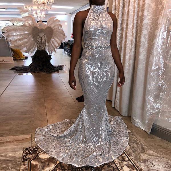 Nuovi vestiti lunghi eleganti da promenade 2019 sexy collo alto backless argento paillettes nero africano ragazza festa di laurea abiti tappeto abito