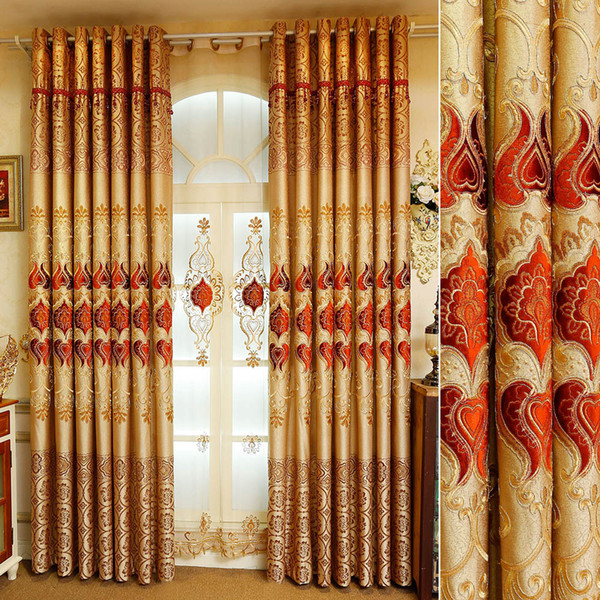 best selling European Embroidery Shading Red Elegant Curtains for Living Dining Room Bedroom.